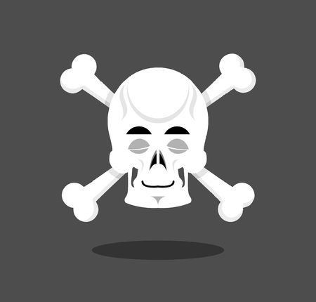 Sleeping skull emotion. Crossbones. Closed eye skeleton head Illustration