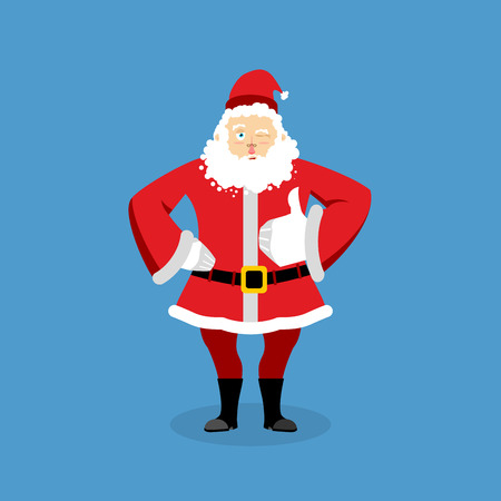 Santa Claus thumbs up well and winks. Sign all right. Merry Christmas character. Hand showing ok. Gesture of hand. Good grandfather with beard in red suit. Illustration for new year Illustration