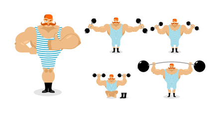 good and evil: Retro athlete set poses. Ancient bodybuilder with red mustache emotions. Sportsman in striped suit, and good evil. Sad and happy Strong circus performer. Aggressive and surprised