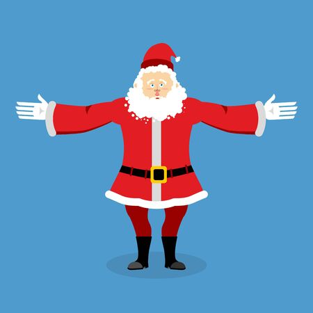 Happy Santa Claus spread his arms in an embrace. Jolly Christmas character. Lovely kind grandfather with beard in red suit. Illustration for new year Illustration