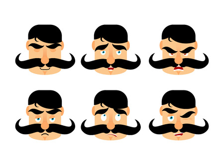 Man with mustache emotions. Vintage barbel expression. Angry and good. Surprised and happy. Riley and winks