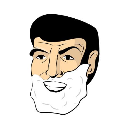 unshaven: Man shaving foam. Mens head. Shaving beard and mustache