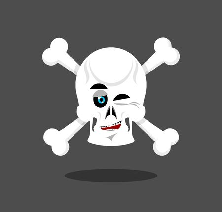 naughty or nice: Laughing Skull winks emotion. Crossbones. Cheerful skeleton head