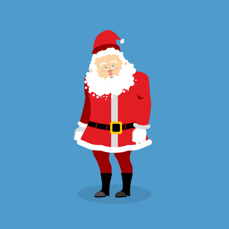 sorrowful: Sad Santa Claus. Grandfather with beard in red suit sad. sorrowful Christmas character. lowered his head. Santa in depression. Illustration for new year Illustration