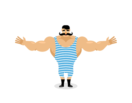Happy Retro sportsman spread his arms in an embrace. Good natured Strong circus performer. Ancient bodybuilder with mustache. Cute vintage good athlete