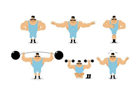 강한 복고풍 운동 선수 포즈 설정. 콧수염 감정 가진 고대의 보디입니다. 스트라이프 정장의 스포츠맨, 선한 악. 슬프고 행복 강한 서커스 공연입니다.  일러스트