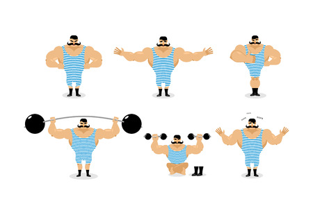 Strong retro athlete set poses. Ancient bodybuilder with mustache emotions. Sportsman in striped suit, and good evil. Sad and happy Strong circus performer. Aggressive and surprised
