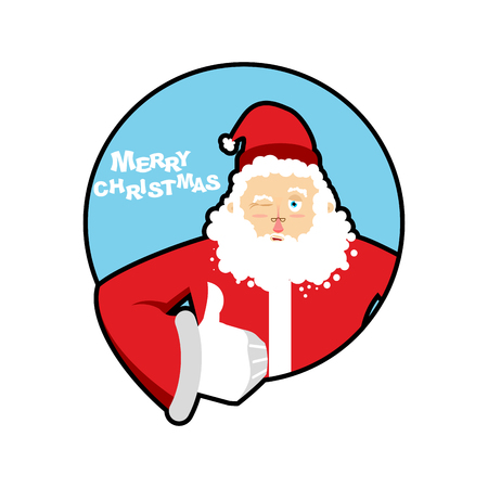 all right: Santa Claus thumbs up well and winks. Sign all right. Merry Christmas character. Hand showing ok. Gesture of hand. Good grandfather with beard in red suit. Illustration for new year Illustration