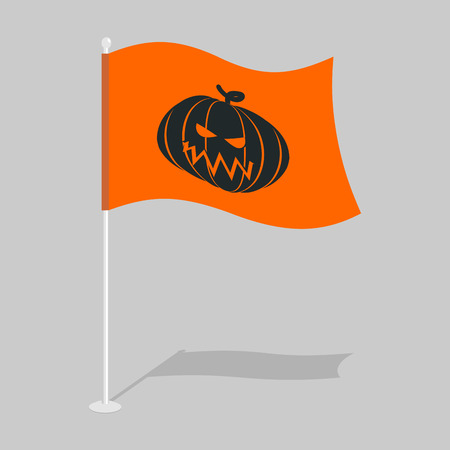terrible: Flag Halloween. Traditional holiday growing flag. Pumpkin symbol terrible holiday Illustration