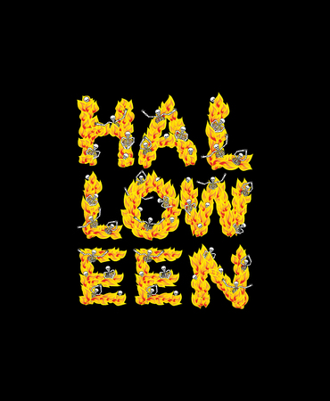 hellish: Fire Halloween letters. Skeletons in hell. Sinners in inferno. Satanic symbol. hellish thick