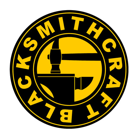 Blacksmithing emblem.   Wrought iron. Hammer and anvil. Sign for smith Illustration