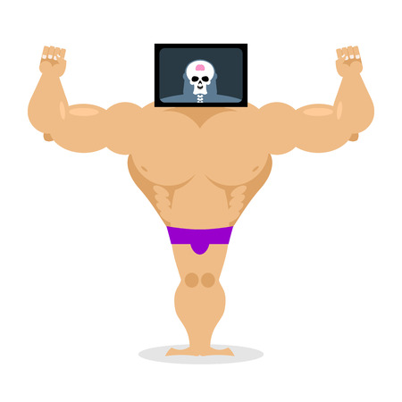 pitching: X-ray head bodybuilder. large muscles and small brain. Structure of  pitching. Athlete scheme. Humorous illustration. Anatomy sportsman