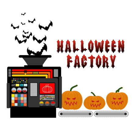 Halloween factory. Device manufacturing scary pumpkin. Vegetables and bats processed terrible. Manufacturing process horror.