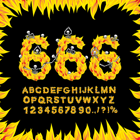 666 font. Hell ABC. Fire letters. Sinners in fiery Gehenna. Infernal Alphabet. Scrape down flame for sins. torture skeletons