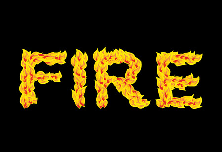 fervent: Fire text.Flame typography. Burning letters. fiery lettering