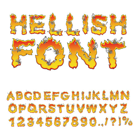 hellish: hellish font. inferno ABC. Fire letters. Sinners in hellfire.  Hell Alphabet. Scrape down flame for sins. torture skeletons