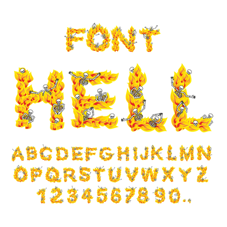 hellish: Hell font. inferno ABC. Fire letters. Sinners in hellfire. hellish Alphabet. Scrape down flame for sins. torture skeletons