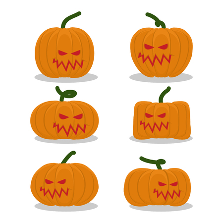 terrible: Scary pumpkins for Halloween set. terrible holiday symbol