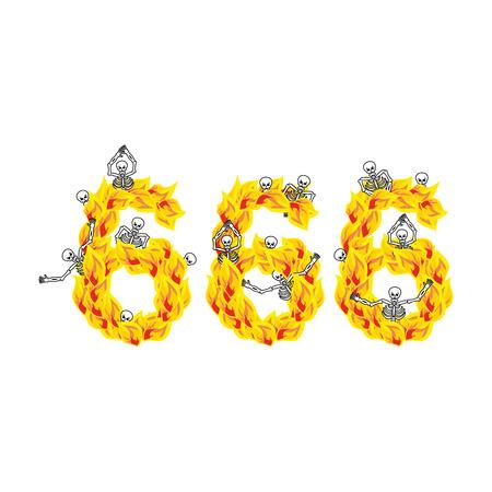 satan: 666 Anzahl der Teufel. Feuer numerisch. Skelette in Inferno. Sinners in der Hölle. Satanic Symbol. höllisch dick