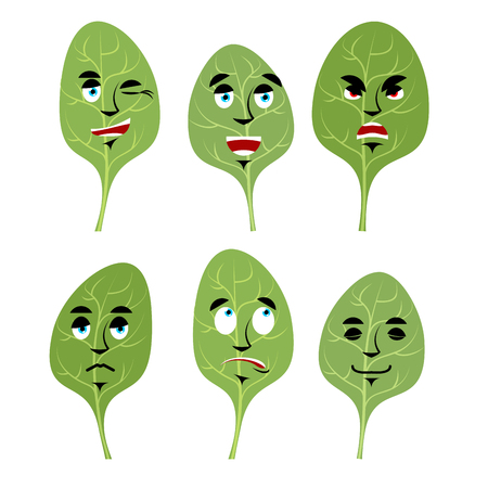 good and evil: Emotions spinach. Set expressions avatar greens. lettuce leaf Good and evil. Discouraged and cheerful. Face fresh green leaf