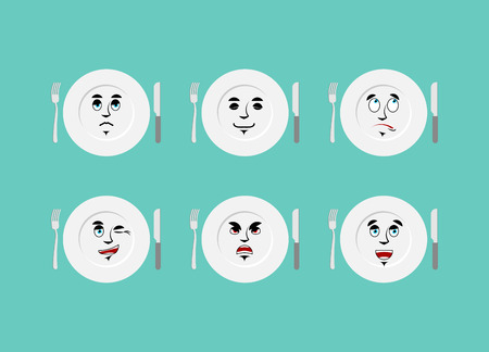 etiquette: Emotions plate. Set expressions cutlery. Good and evil. Discouraged and cheerful. dining etiquette Illustration