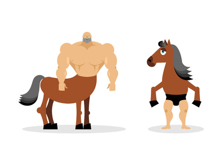 Centaur mythical creature. Half horse half person. Sports creature. Fairy-tale characters athlete. Man horse Illustration