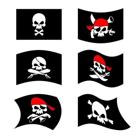 roger: Jolly Roger. Pirate flag. Skull and crossbones. skeleton head in sling. Swords and guns. Developing black flags corsairs. Set Banner filibusters. bandits symbol