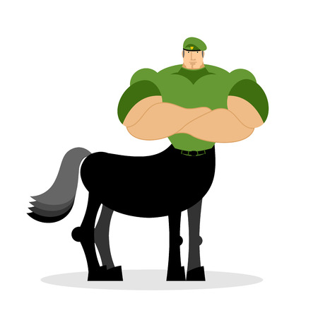 Centaur soldier in green beret. Military mythical creature. Half horse half person. Magical Warrior. Fairy-tale characters athlete. Man horse