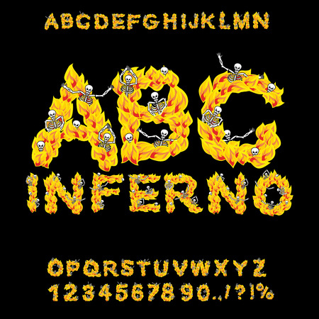 hellish: Inferno ABC. Hell font. Fire letters. Sinners in hellfire. hellish Alphabet. Scrape down flame for sins. torture skeletons Illustration