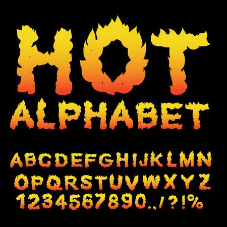 핫 알파벳. 화염 글꼴. 불 같은 편지. ABC 굽기. 화재 인쇄술. 불을 피우다 일러스트