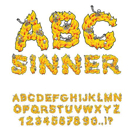 sinners: Sinner font. Letters from flames. Skeletons in hell fire. Hellfire and bones. Cries of sinners. hellish ABC. fiery Alphabet Illustration