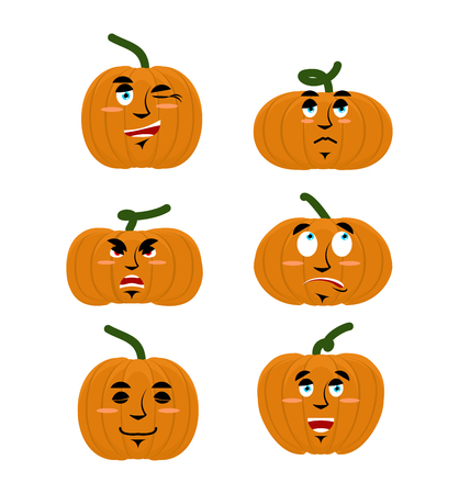 good and evil: Emotions pumpkin. Set expressions avatar for Halloween. Good and evil. Discouraged and cheerful. Face vegetable