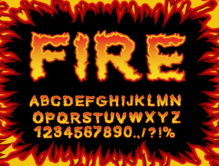 Fire font. Flame Alphabet. Fiery letters. Burning ABC. Hot typography. blaze lettring