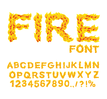 burning alphabet: Fire font. Burning ABC. Flame Alphabet. Fiery letters.  Hot typography. blaze lettring