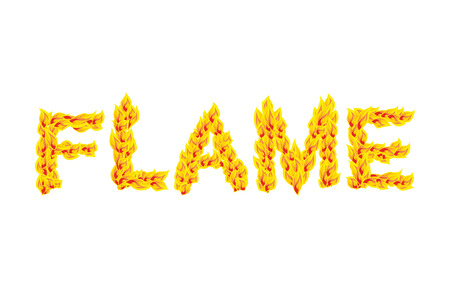 fiery: Flame. Fire typography. Burning letters. fiery lettering