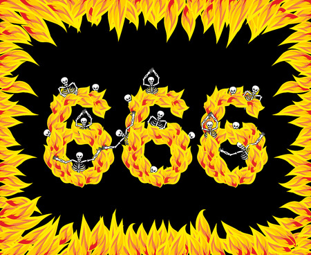 666 number of devil. Fire numeric. Skeletons in inferno. Sinners in hell. Satanic symbol. hellish thick