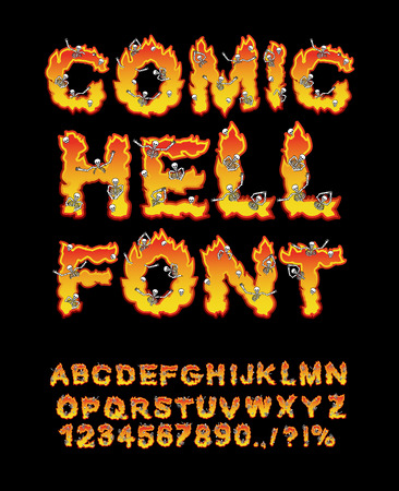 hellfire: Comic Hell font. inferno ABC. Fire letters. Sinners in hellfire. hellish Alphabet. Scrape down flame for sins. torture skeletons Illustration