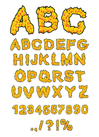 burning alphabet: Fire ABC. Flame Alphabet. Fiery letters. Burning font. Hot typography. blaze lettring