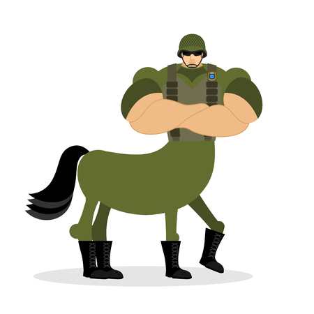 Centaur soldier in helmet. Military mythical creature. Half horse half person. Magical Warrior. Fairy-tale characters athlete. Man horse Illustration