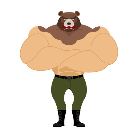 strong: Man Bear. Strong powerful wild evil animal with big muscles. Bodybuilder with beast head. Russian angry Predator muscleman
