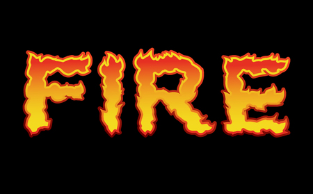 Fire text.Flame typography. Burning letters. fiery lettering