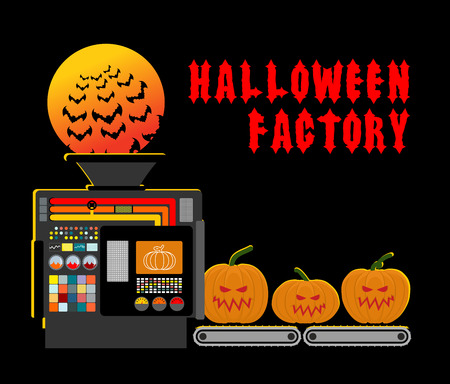 processed: Halloween factory. Device manufacturing scary pumpkin. Vegetables and bats processed terrible. Manufacturing process horror.
