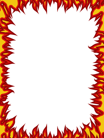 flamboyant: Fire frame. Flames on edges. Flame background Illustration