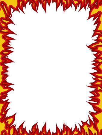 conflagration: Fire frame. Flames on edges. Flame background Illustration