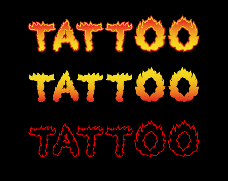 flame letters: Tattoo fire letters. Flame lettering. Comics font Illustration