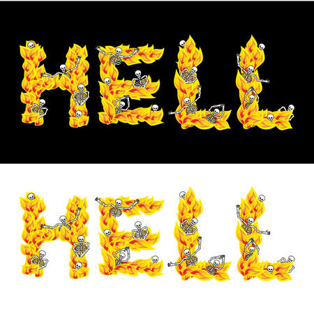diabolic: Hell text. fire letters. Skeletons in inferno. Sinners in Gehennal. Satanic symbol. hellish thick Illustration