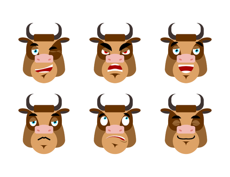discouraged: Emotions cow. Set expressions avatar bull. Good and evil. Discouraged and cheerful. Face Farm Animals