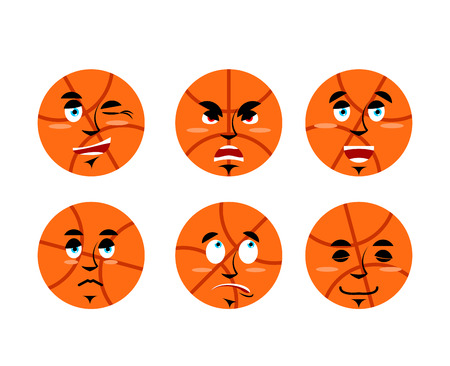 Emotions basketball ball. Set expressions avatar sports game. Good and evil. Discouraged and cheerful. Face Sports Apparel Illustration