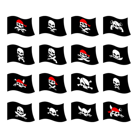 bandits: Jolly Roger. Pirate flag. Skull and crossbones. skeleton head in sling. Swords and guns. Developing black flags corsairs. Set Banner filibusters. bandits symbol