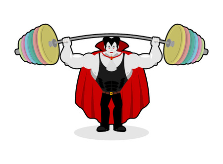 head shoulders: Dracula and barbell. Gym over his head. Exercises on shoulders. Strong, powerful vampire. Illustration for halloween Illustration